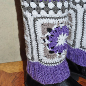 Bohemian Boot Cuffs, Hippie Crochet Leg Warmers in color of Lavender, Grey, White, Ready to Ship!