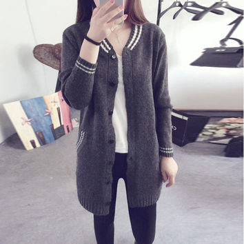 Women V-Neck Long Version Cardigan Sweater