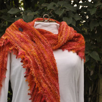 Boho Shawl: Perfect for the Cottage or Any Time of Year! Handknit Orange-Marmalade Picot-edged Shawl; Canadian Artisan Dyed and Knit
