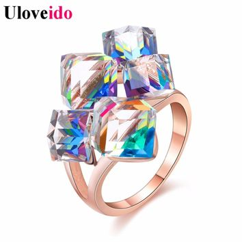 50% off Ladies Fashion Blue Engagement Rings for Women Luxury Vintage Cristales Ring with Stones Anneaux Pour Les Femmes GR123
