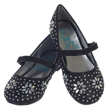 Black Glitter Flats Dress Shoes with Iridescent Stone Beading  (Toddler & Girls Sizes)