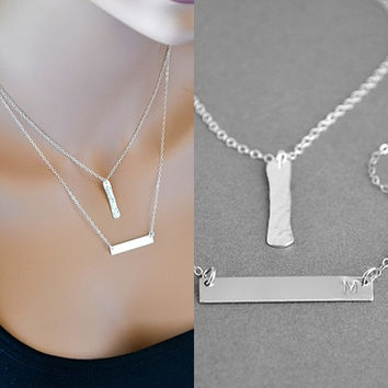 Silver Bar Layered Necklace, Two Initial Necklace, Hammered Sterling Silver Necklace, Personalized Jewelry, Double Strand