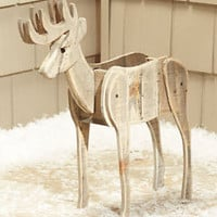 Rustic Wood Christmas Tree Or Reindeer Planter Porch Lawn Holiday Home Decor