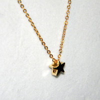 Gold Star Necklace - Rachel Berry - Glee - Gleek - 16 K Gold - Charm Pendnant on Chain - Handmade - Gift Under 20, 25, 50