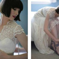 Vintage Inspired Lace Wedding Dress | atelierTAMI - Wedding on ArtFire