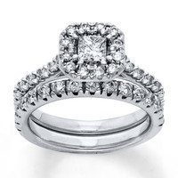 Diamond Bridal Set 5/8 ct tw Princess-cut 14K White Gold