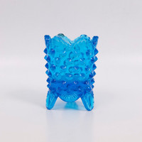 Vintage Fenton Blue Hobnail Toothpick Holder Three Footed Votive Holder Trinket Glass