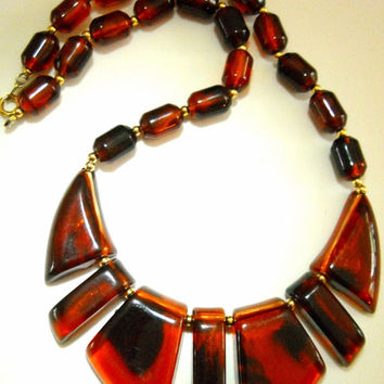 Lucite Bib Necklace Tortoise Shell Vintage 17 Inches