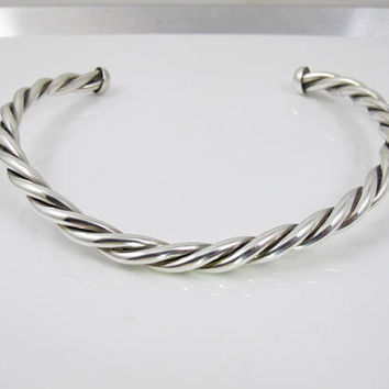 Sterling Silver Twist Rope Choker. Solid Heavy Cable Twist Collar Necklace. Sterling Statement Jewelry