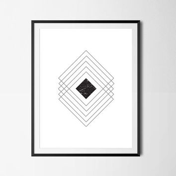 Geometric Wall Art, Minimalist Art, Geometric Poster, Minimalist Poster, Black And White