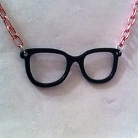 Black frames glasses necklace with pink chain ,geekery necklace geek jewelry nerdy gifts teen jewelry