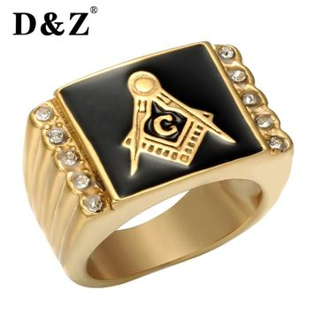 D&Z Vintage Gold Freemasonry Masonic Ring Stainless Steel Master Punk Zircon Retro Free Masonic Signet Rings of Men Jewelry