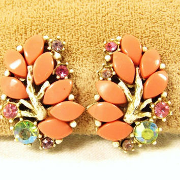 Vintage Coral Thermoset Plastic Pastel Rhinestone White Enamel Clip On Earrings
