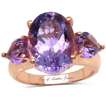 A Natural 7.4CT Oval Cut Rose de France Pink Amethyst 14K Rose Gold Ring