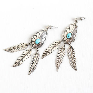 Vintage Sterling Silver Turquoise Leaf Pierced Earrings - Retro 1970s Blue Gem Etched Dangle Boho Southwestern Statement Leaves Jewelry