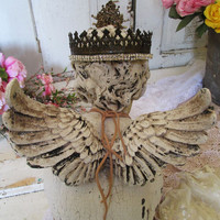 Cherub statue embellished ornate handmade crown shabby painted weathered angel figure French Santos inspired home decor anita spero