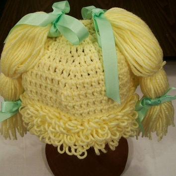Girls yellow Cabbage Patch Hat=#396