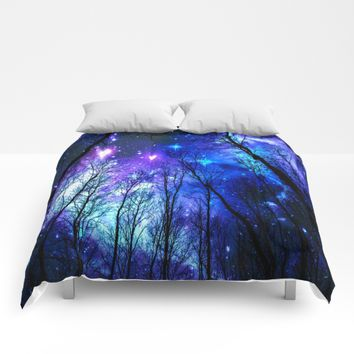 black trees purple blue space Comforters by 2sweet4words Designs