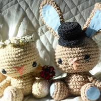 Handmade Crochet Bunny Wedding Set Made To Order