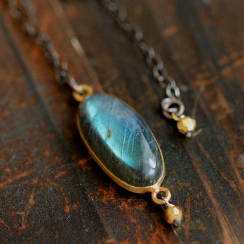 Labradorite Necklace with Oxidized Silver Chain By Pale Fish NY