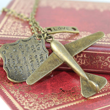 The Antique Bronze Big Plane with loving letter,  Love pendant,vintage chain