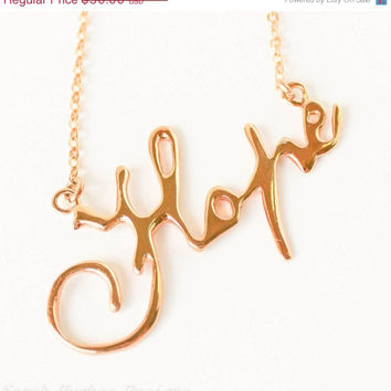 VALENTINES DAY SALE Hope handwriting 10k gold plated Christmas necklace