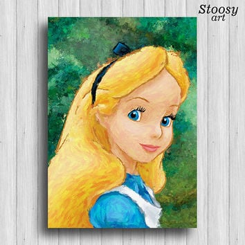 Alice in wonderland print nursery room decor
