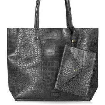 Croc-Effect Shopper Bag - Black