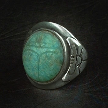 Art Deco RING Egyptian Hieroglyphs STERLING Silver Carved SCARAB Beetle Size 6 c.1920's