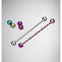 14 Gauge Purple & Steel Industrial Barbell 2-Pack