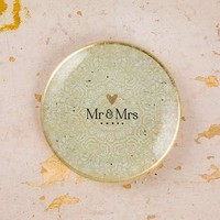 Mr. & Mrs. Round Glass Tray
