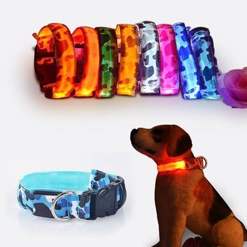 Camouflage Flexible Length 35-60cm LED Lamp Dog Collar With 7 Colors Strip Light Style Flash Light Led Dog Leash For Dog Cat