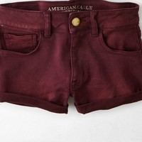 AEO Women's Denim X Hi-rise Shortie (Summer Burgundy)
