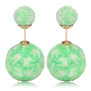 Italian Import Gum Tee Mise en Style Tribal Double Bead Earrings - Micro Bead Light Green Flower Design