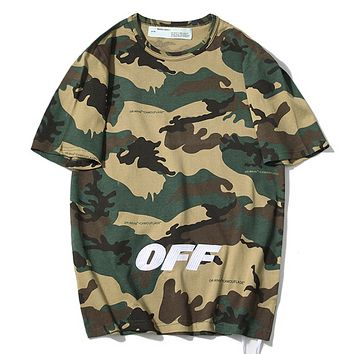 Off White Fashion New Embroidery Letter Print Camouflage Women Men Top T-Shirt