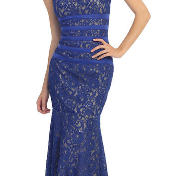 Two Tone Royal Blue Gold Overlay Lace Dress Mermaid Wide Strap