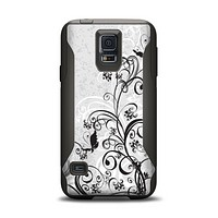 The Black and White Vector Butterfly Floral Samsung Galaxy S5 Otterbox Commuter Case Skin Set