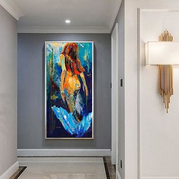 Wall Art Mermaid Oil Painting Home Decor Canvas Pictures For Living Room Expressism Decoration Pictures Prints Hallway No Framed