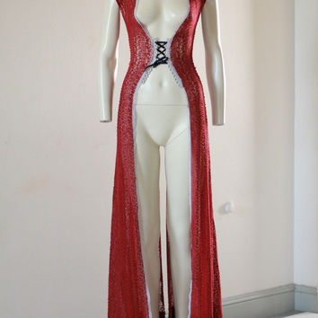 Red Lace Robe Blue Dressing Gown Lingerie Vintage Gift by chrisst