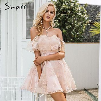 Simplee Off shoulder flower mesh summer dress women Elegant high waist backless mini dress Fashion strapless party dresses