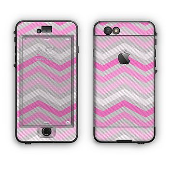 The Wide Pink Vintage Colored Chevron Pattern V6 Apple iPhone 6 Plus LifeProof Nuud Case Skin Set