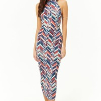 Multicolor Chevron Halter Midi Bodycon Dress