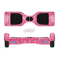 The Pink & White Abstract Illustration V3 Full-Body Skin Set for the Smart Drifting SuperCharged iiRov HoverBoard