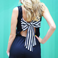 Bowed And Beautiful Romper: Black | Hope's