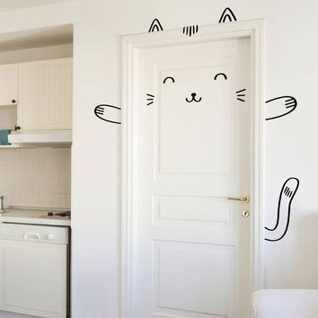 Sushi The Cat Door Decal  Wall Decal For Doors, Windows Or Closets  Nursery Decor  Cat Vinyl Sticker Murals For Child K518