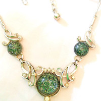 Lucite Necklace Green Confetti Necklace Rhinestone Necklace 1940s Art Deco Vintage Jewelry