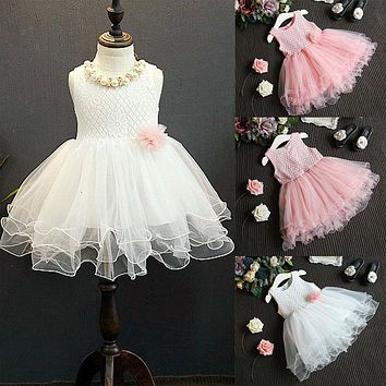 Kid Summer Dress For Girl Lace Flower Cute Little Princess Dresses Children Girls' Clothing For Birthday Party Tulle Tutu Dress