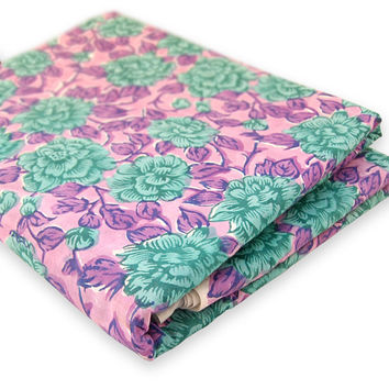 Indian Hand Printed Cotton Fabric Floral Design Art Fabric By The Yard Purple dye Pure Cotton Fabric Multi Purpose For Making Shirt/Dress