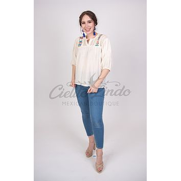 Española Blouse Cream with Floral Embroidery