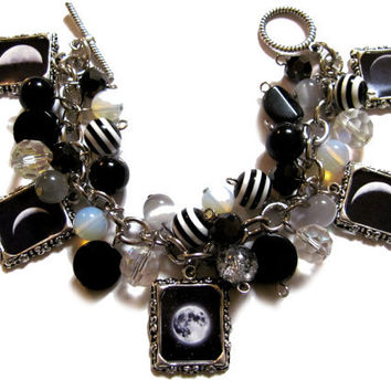 Moon Phases Altered Art Charm Bracelet Black White Beads